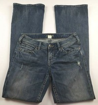 Silver Jeans Womens Sz 28 Aiko Flare Mid Rise Medium Wash Distressed Den... - $34.78
