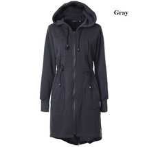 2017 Winter Long Hoodies Straight Drawstring Jackets Cotton Thick Size S-2XL image 3