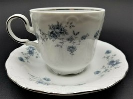 Lot of 4 - Johann Haviland (Bavaria Backstamp) Blue Garland Flat Cup & Saucer - $12.86