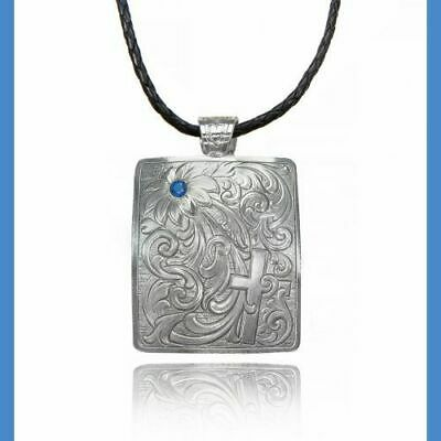 Montana Silversmiths Hidden Cross Floral with blue stone Necklace NEW!
