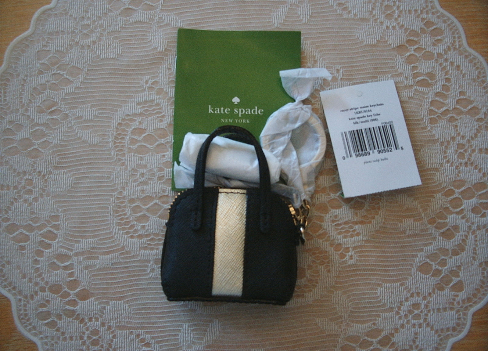NWT/KATE SPADE/MAISE/KEYCHAIN/BAG CHARM/BLACK AND GOLD