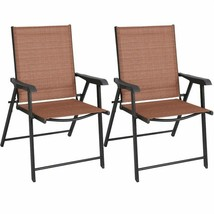 Outdoor Patio Folding Chairs 2 Chairs Brick Red Durable Steel Frame Outdoor - $155.62