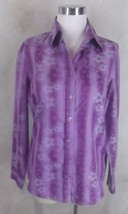 Hawes & Curtis Shirt Top Size 8 UK 12 Purple Stripe Floral Classic Fit Womens - $23.74