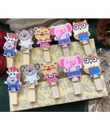 30pcs Cute Animals Wooden Photo Clips,Decorated Paper Clip,Birthday Part... - $7.20