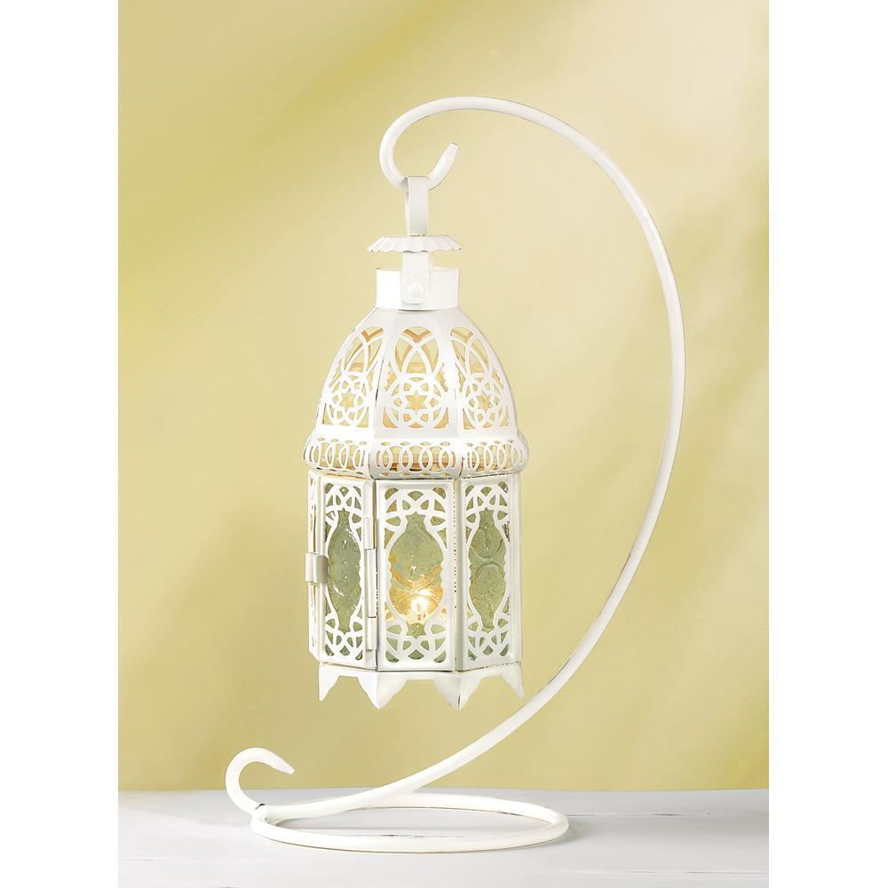 White Fancy Candle Lantern With Stand   37439  SMC