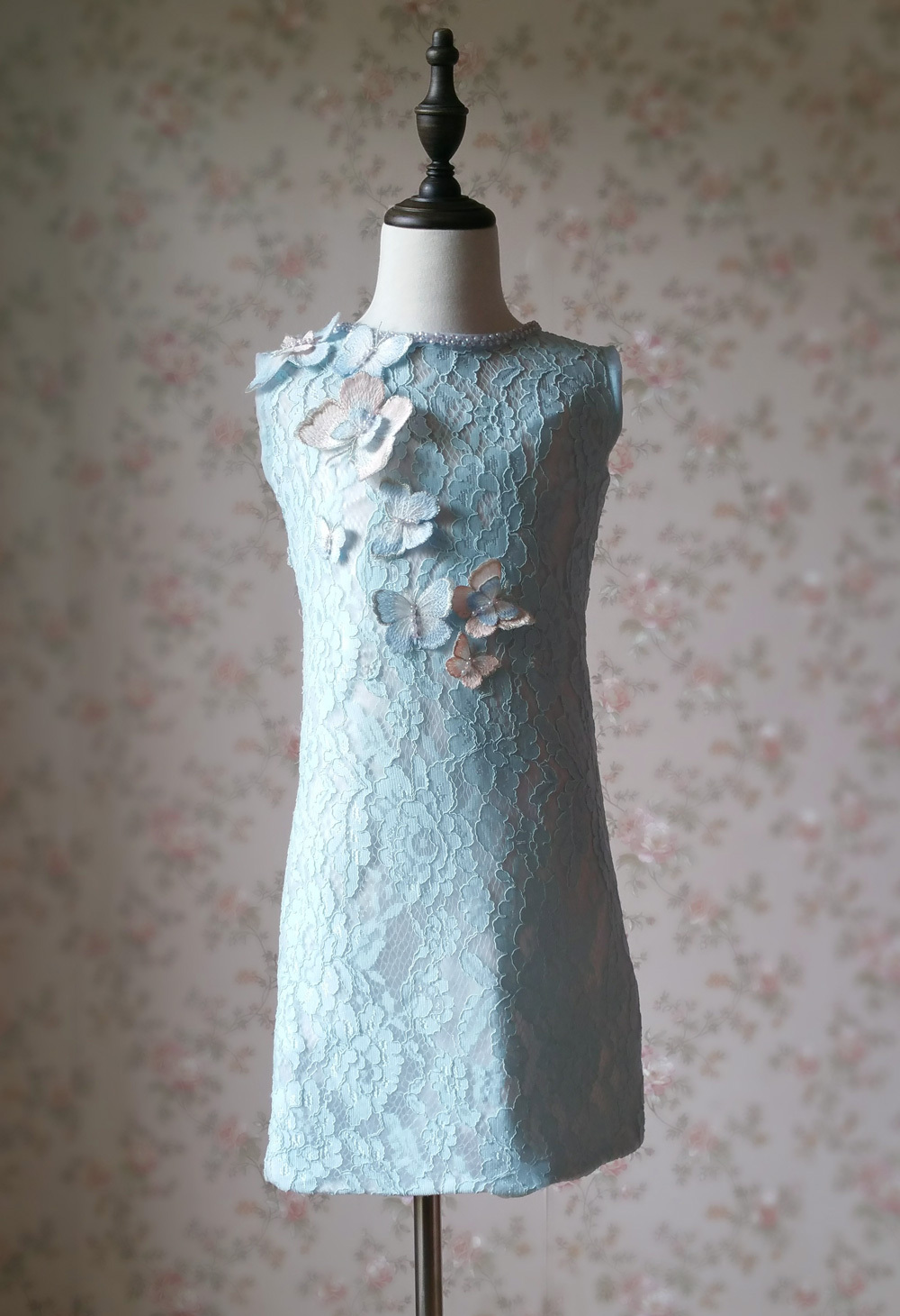Light Blue Lace Flower Girl Dress Short Pencil Blue Birthday Party Dresses NWT