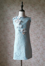 Light Blue Lace Flower Girl Dress Short Pencil Blue Birthday Party Dresses NWT image 1