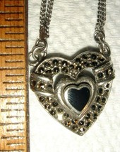 STERLING SILVER BLACK ONYX MARCASITE HEART NECKLACE CHANGEABLE CHARM HOO... - $267.99