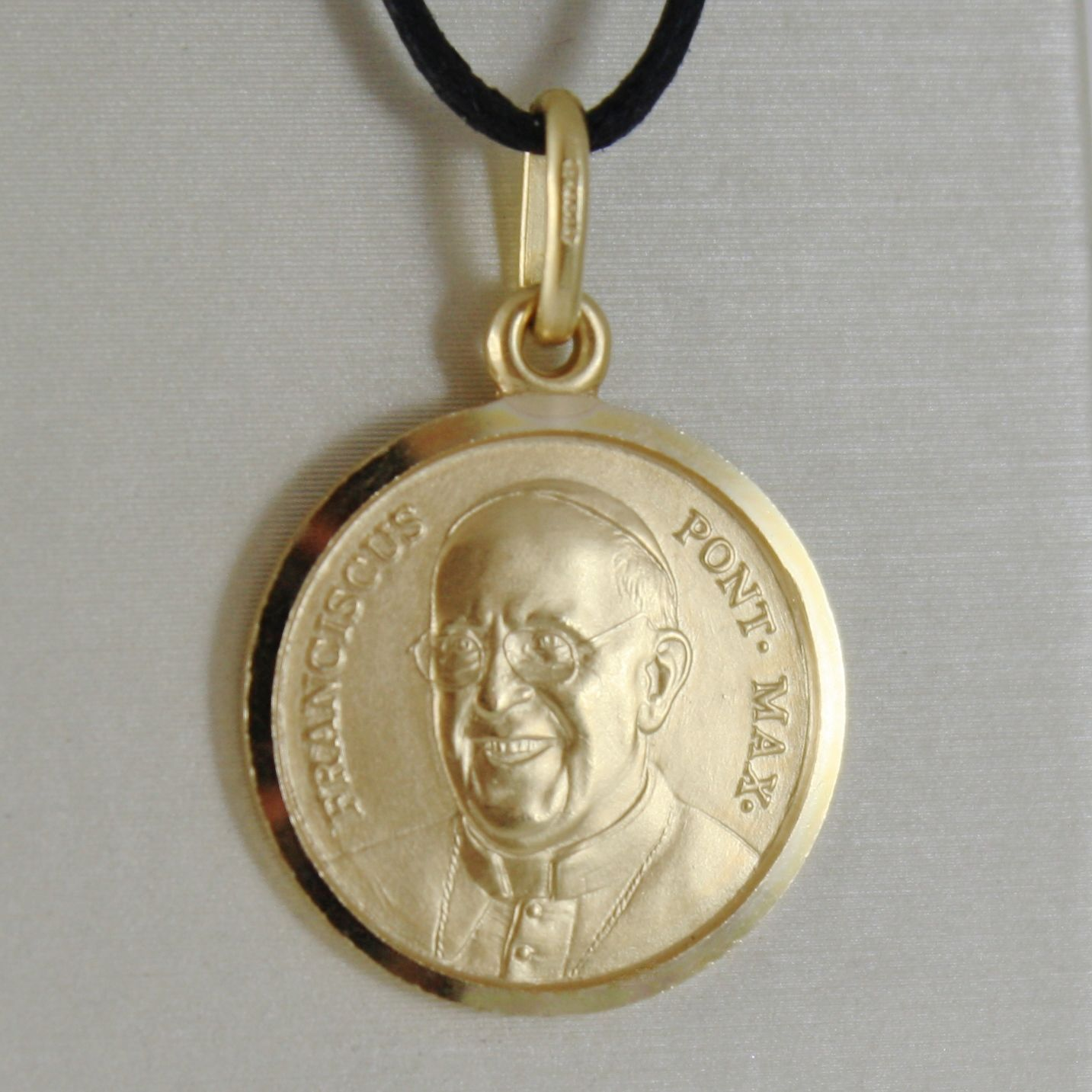 SOLID 18K YELLOW GOLD POPE FRANCIS FRANCESCO FRANCISCO 17 MM MEDAL MADE IN ITALY