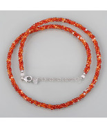 Faceted Round Carnelian 3 Strand Twisted Necklace in 925 Sterling Silver... - $32.99