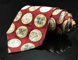Van Heusen Circle Red White Geometric  Beautiful Men's 100% Silk Necktie - $15.96