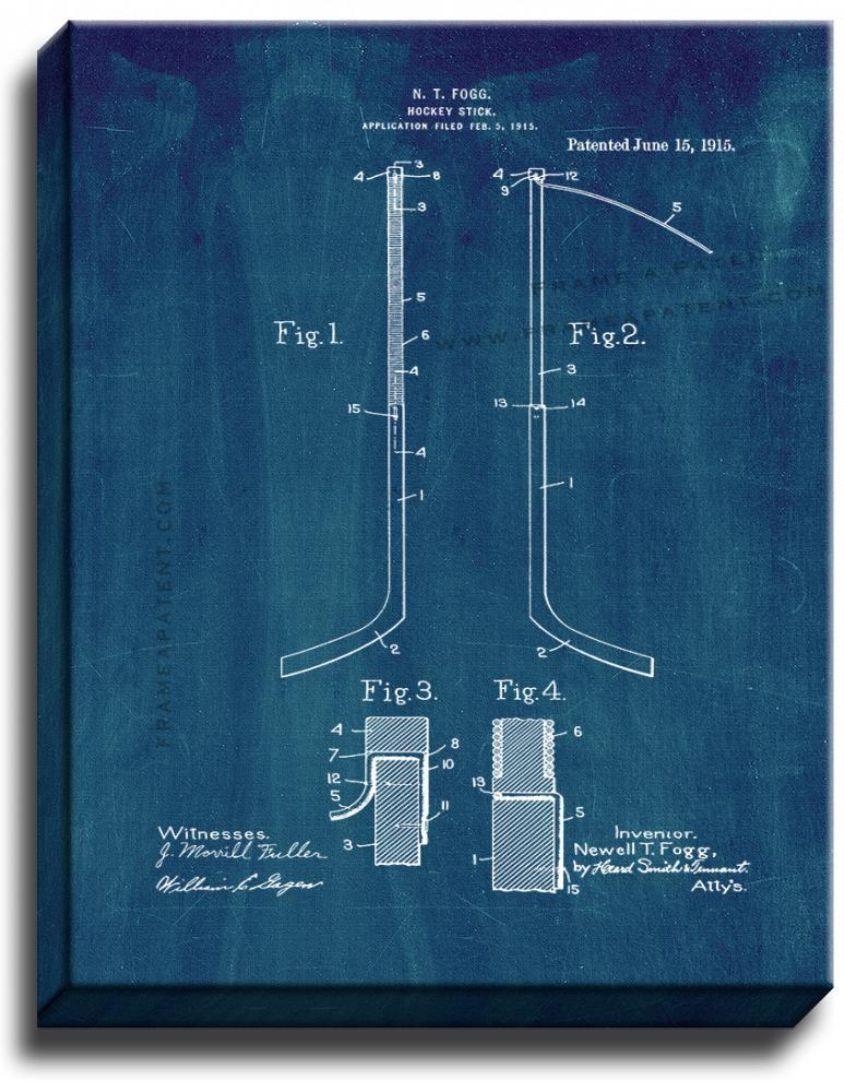Primary image for Hockey Stick Patent Print Midnight Blue on Canvas