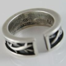 Silver Ring 925 Burnished Band with Crown of Plugs and Size Adjustable image 3
