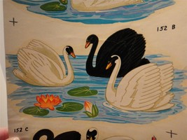 Vintage Water Slide Duro Decals Sheet White Black Swans Water Lily's #MC... - $9.89