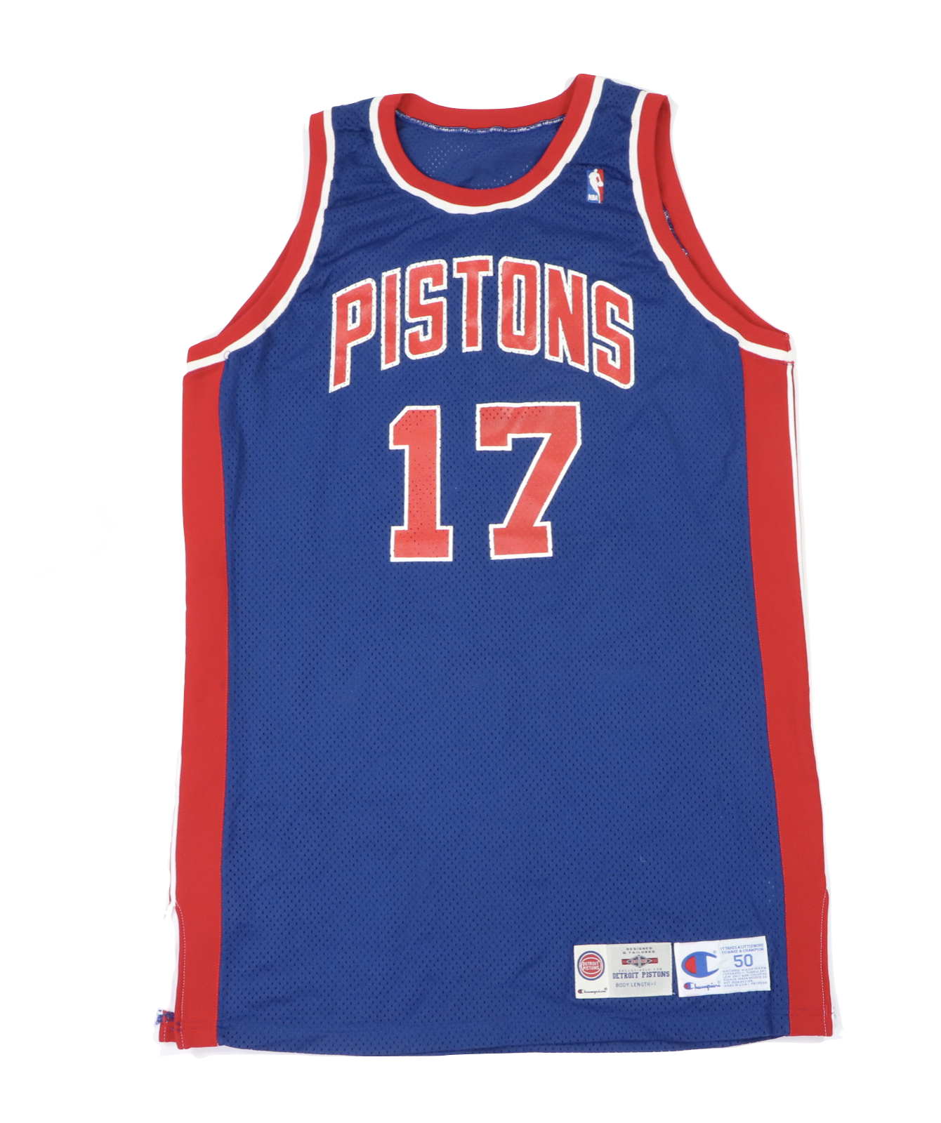 Primary image for Vtg Champion NBA Detroit Pistons Bill Curley Player Issued Jersey #17 94/95 50