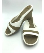 Crocs Sassari Womens 10 White Tan Stripe Comfort Heels Shoes Open Toe  - $12.99