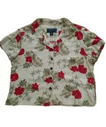 Island Traders Womens Size L Tropical Rayon Blouse Short Sleeve Button Top - $9.90