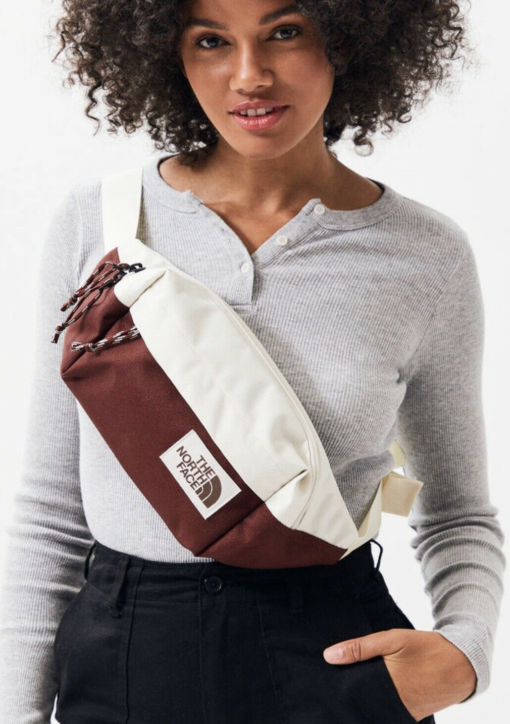The North Face Lumbar Waist Fanny Pack Vintage White Red NWT - $33.85