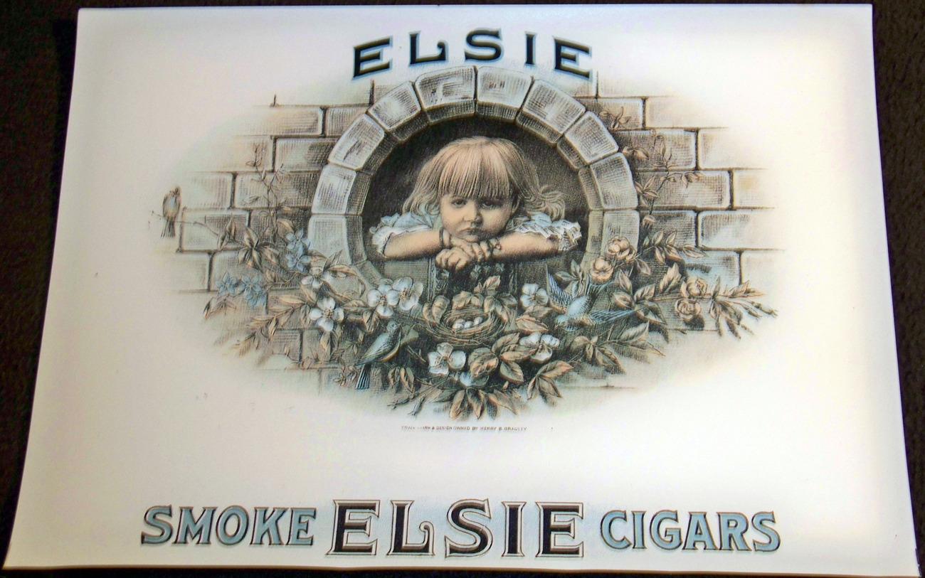 Blue Birds! Elsie Inner Cigar Label, 1930's