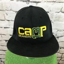 Nike Camp 13 Beanery Mens Sz L-XL Hat Black Fitted Flat Bill Ball Cap Flaw - $19.79