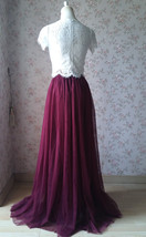 Burgundy Split Tulle Skirt Burgundy Wedding Maxi Tulle Skirt Bridesmaid Tutu  image 4