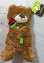 ANIMAL ADVENTURE Tan Brown Plush Teddy BEAR Holding Red Rose Flower NWT ... - $9.79