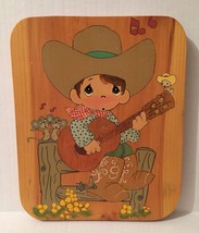 Precious Moments Cowboy Playing Guitar Wood Wall Hanging - $27.76
