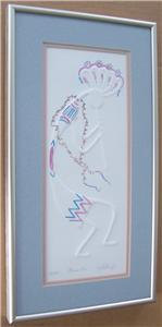 "Signed J R Partridge ""Music Man"" kokopelli Native Indian Mixed Media Painting #1"