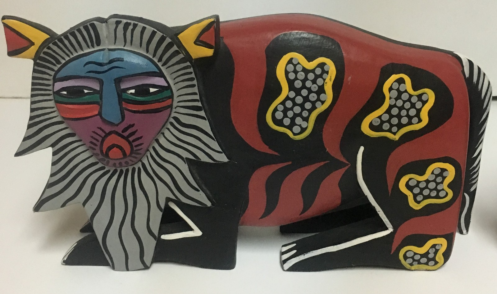 African Wood Art Carved Hand Painted Lions Set of 2