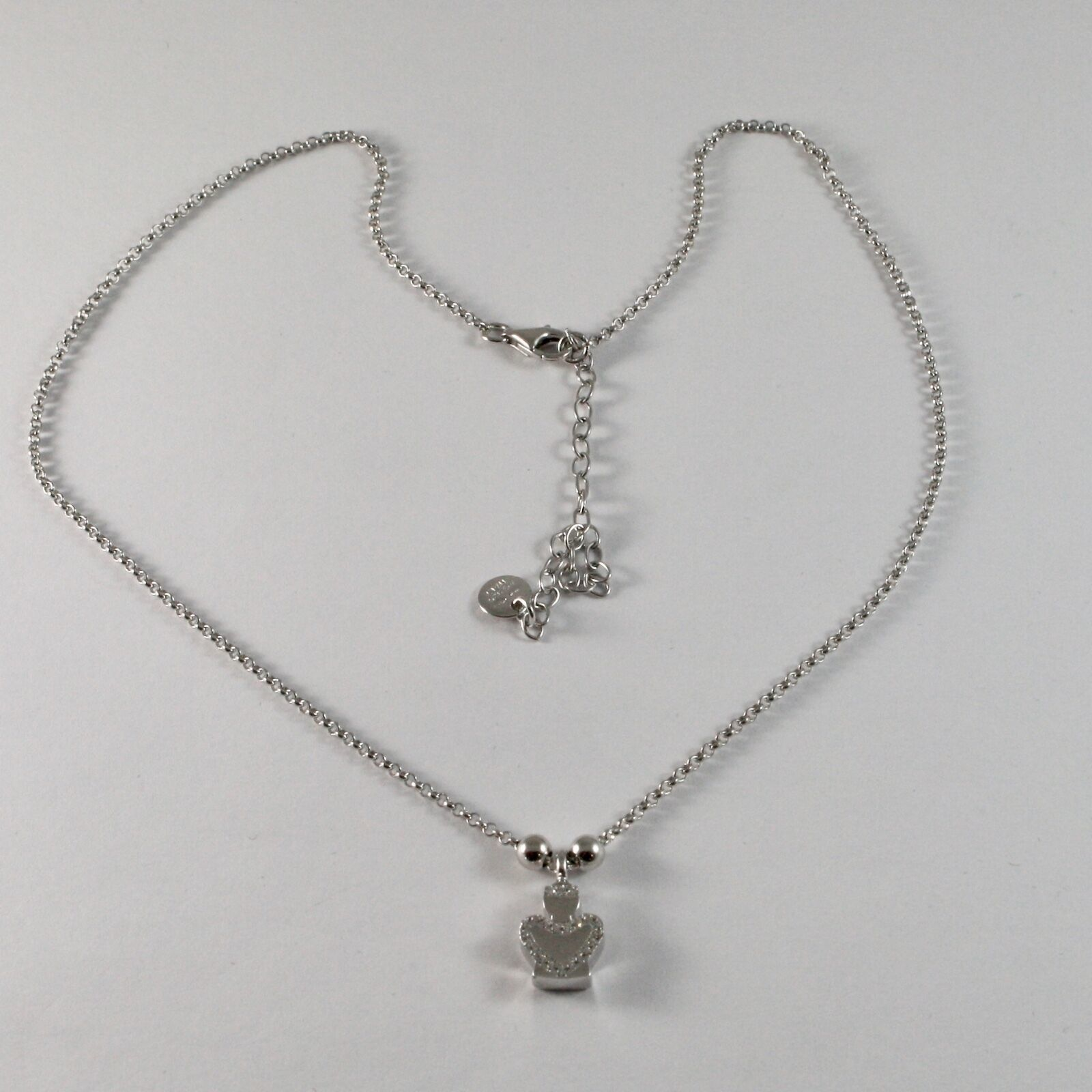925 Sterling Silver Necklace Jack&co with Angel with Zircon Cubic White JCN0610