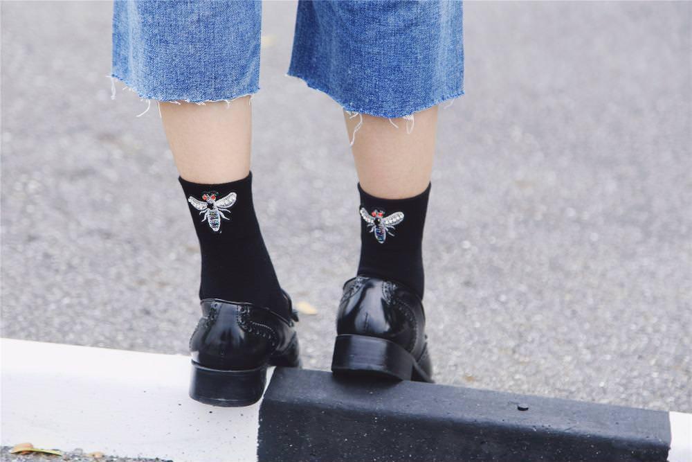 Women Fashion Vintage Socks Rhinestone Short Black Socks Cute Soft Black Socks