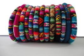 1 Peruvian Bracelet Cuff Bangle Peruvian Manta Fabric Handmade Ethnic Ar... - $7.00