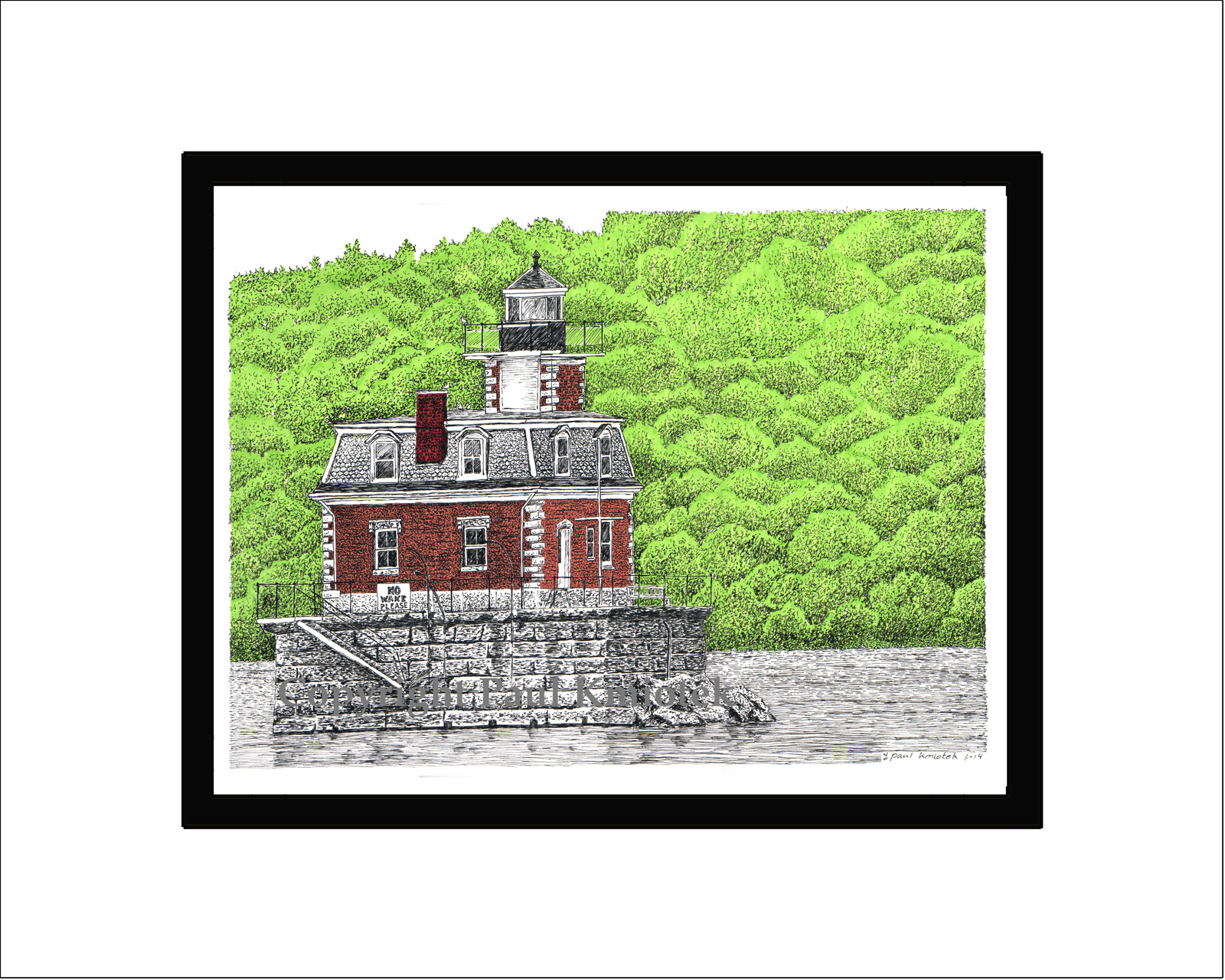 Primary image for Hudson-Athens Lighthouse, Hudson River, Limited Edition, Matted, Pen and Ink Pri
