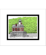 Hudson-Athens Lighthouse, Hudson River, Limited Edition, Matted, Pen and... - $34.00