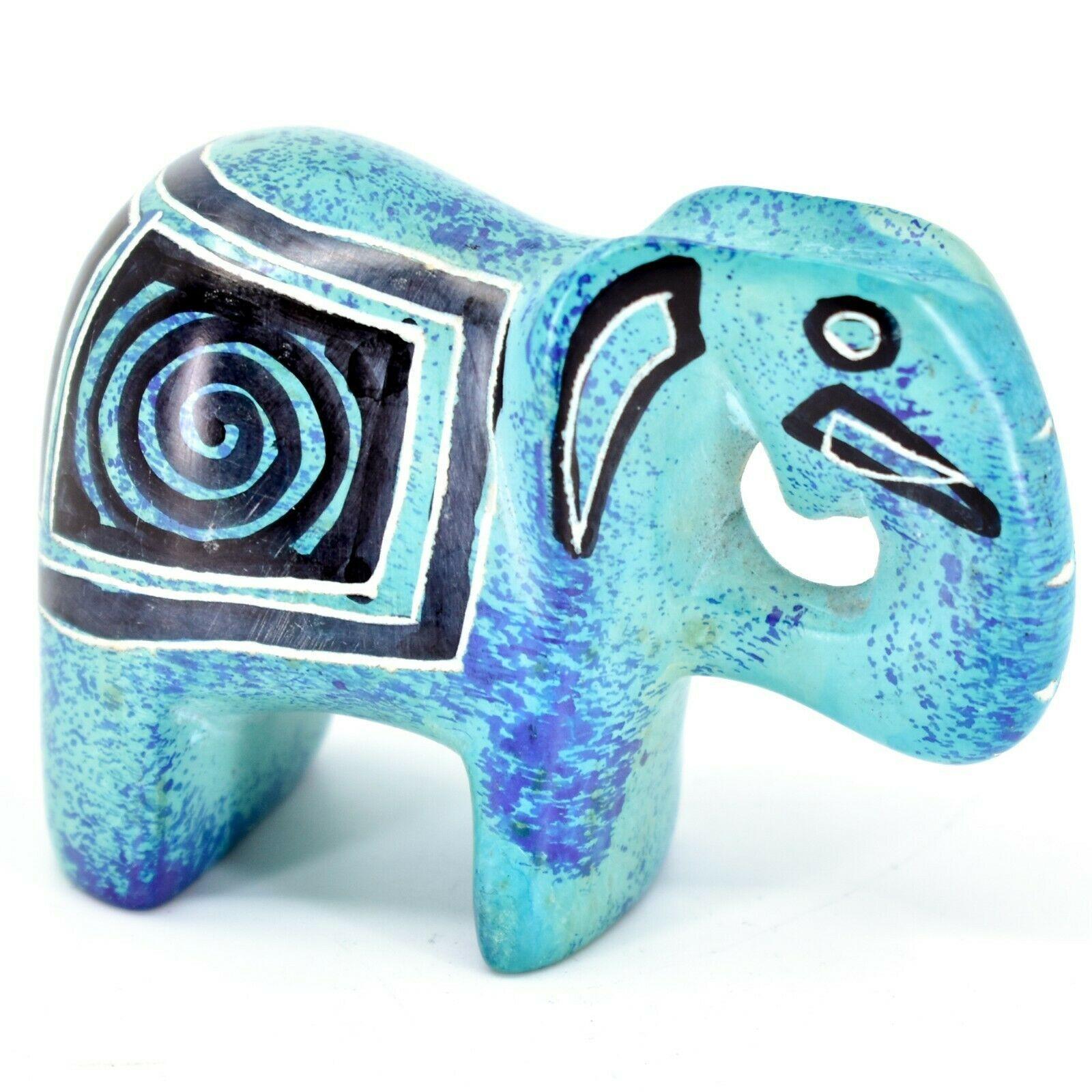 Crafts Caravan Hand Carved Aqua Blue Soapstone Elephant Figurine Made in Kenya