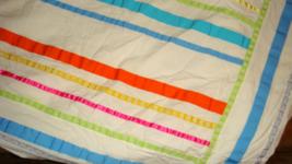 Pottery Barn Teen Ribbon Stripe Twin Duvet Cover Multi-Color Appliqued R... - $49.97