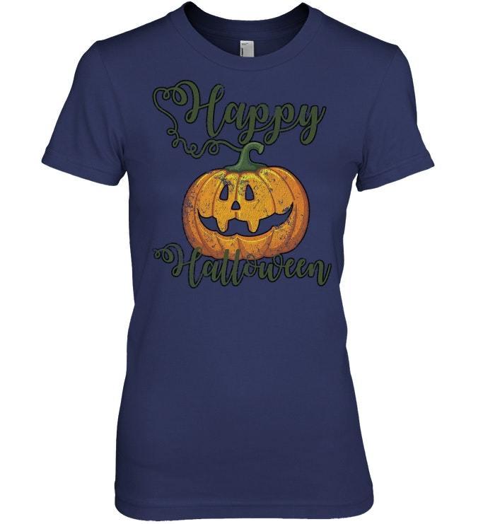 Funny Halloween Tshirt Happy Halloween Fall Distressed