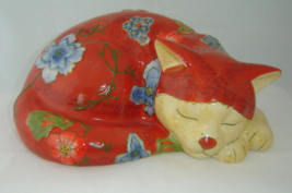 Sleeping Cat Ceramic Fiqurine Decor  NEW