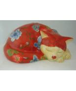 Sleeping Cat Ceramic Fiqurine Decor - $39.59