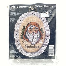 Vintage Counted Cross Stitch Kit St. Nicholas Ornament Lace Trimmed - $9.46