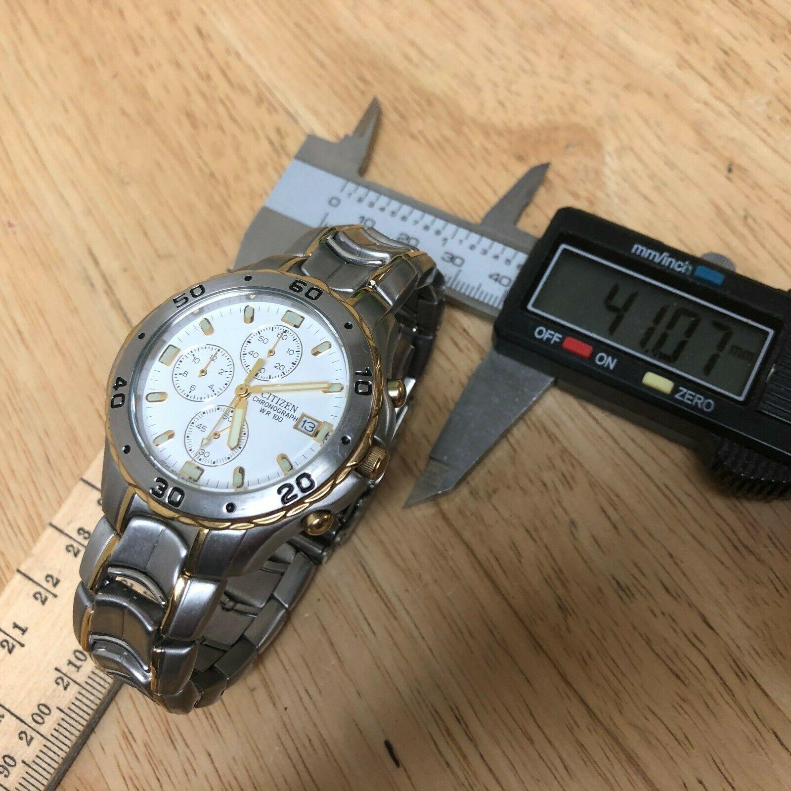 Unused Citizen 0510 Men Dual Tone Analog Quartz Chrono Watch Hours~Date~New Batt image 5