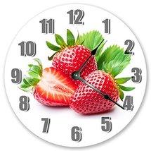 Sugar Vine Art Red Strawberries Silent Non Ticking Round Battery Operate... - $20.69