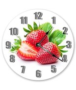 "10.5"" PERFECTLY RED STRAWBERRIES CLOCK - Large 10.5"" Wall Clock - Home Décor Clo - £15.88 GBP"