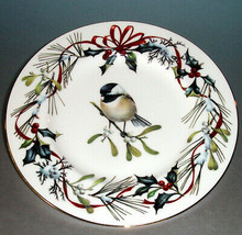 "Lenox Winter Greetings Chicadee Accent Luncheon Plate 9.25"" Gold Banded New - $58.90"