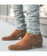 Handmade Bespoke Men Tan Suede Ankle High Casual Boots - $159.97+