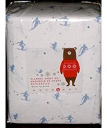 Nate & Nat Light Blue Downhill Skiers on White Flannel Sheet Set Queen - $62.00
