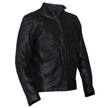 Mens Biker Skull Logo Embossed Black Motorcycle Synthetic Leather Jacket image 2