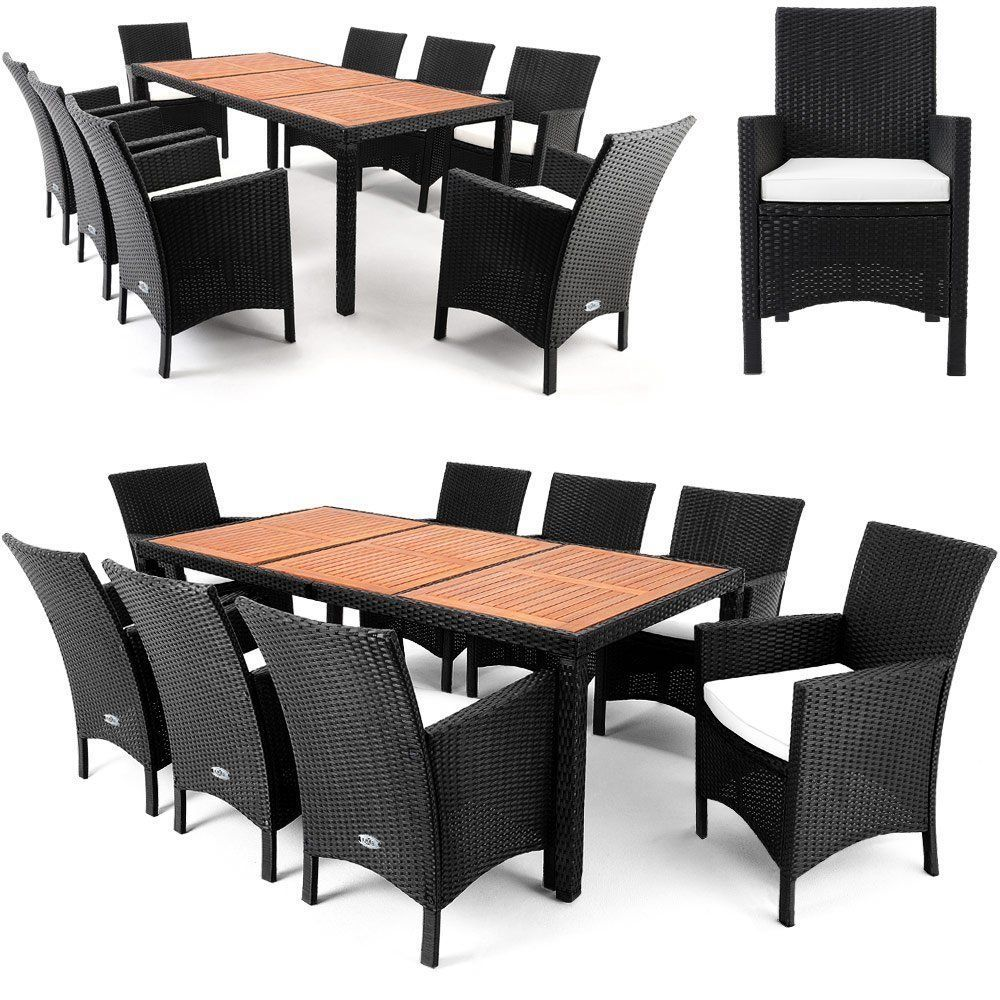 Rattan Garden Set 9pcs Furniture Outdoor Patio Dining Wood Top Table & Armchairs
