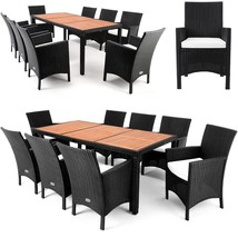 Rattan Garden Set 9pcs Furniture Outdoor Patio Dining Wood Top Table & A... - $574.65
