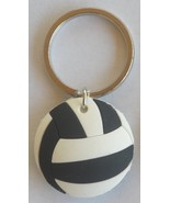 3D Rubber Volleyball Keychain Keyring Key Chain Black & White - 4pc/pack - $12.99